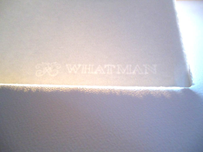 whatman paper watermark Whatman watercolor papers are mouldmade, 100% cotton, internally sized with aquapel two natural deckle edges, with a whatman watermark and the mill monogram.